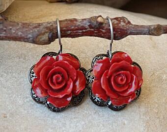 Coral earrings. Vintage red earrings. Antique earrings. Rose romantic earrings. Red flower earrings. Blooming drop earrings. Rose earrings