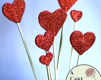 8 hearts cake topper, red glitter hearts cake topper, birthday cake topper, wedding cake topper.