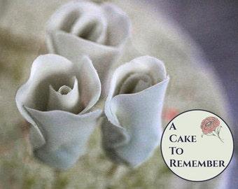One gumpaste rose bud, edible flowers, sugar flowers for wedding cake toppers, sugar rosebud for cake decorating, wedding cake flowers