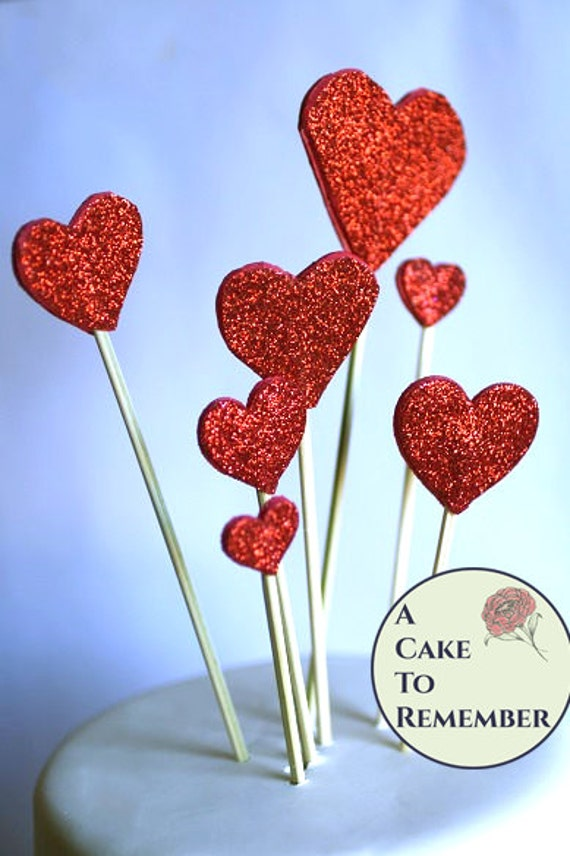 8 hearts cake topper red glitter hearts cake topper birthday