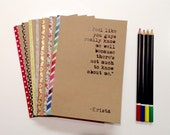 Customized notebook, journal, diary, sketchbook, custom size, front and edge.