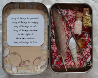 Personal and Traveling Small Metta Meditation, Affirmation, Pagan, Wiccan Shrine Kit