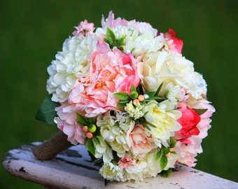 Wedding Bouquet, Blush Pink and Ivory Roses and Peonies, Bride or Bridesmaids, Ready to ship