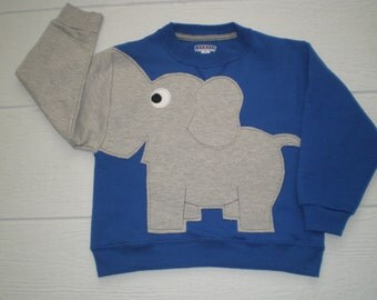 Royal Blue Childrens Elephant Trunk sleeve sweatshirt,  sweater, elephant jumper, KIDS xsmall, small, medium, Special Deal