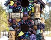 Large Mosaic Birdhouse with Wine Corks and Embellishments wine lover mosaic garden art purple Amethyst stones hanging birdhouse ~