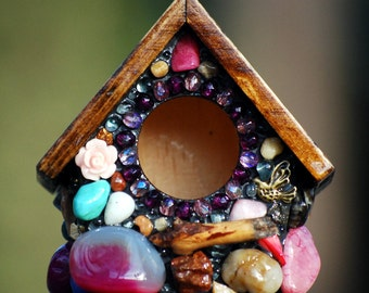Miniature birdhouse, key chain, super cute! with pink stones and bronze charms pink roses dark wood love hearts ,butterfly, unique gift