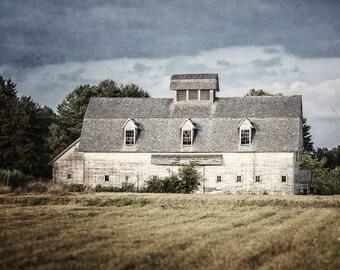 Barn Art, Fix Upper Style Farmhouse Style Decor, White Barn Landscape, Rustic Home Decor, Country Decor, White Barn Photograph, Barn Art.