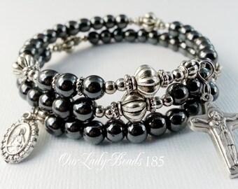 Men's Rosary Bracelet,Hematite Wrap Rosary Bracelet,Father's Day or Groom's Gift,Wedding,Religious Catholic Jewelry,#185