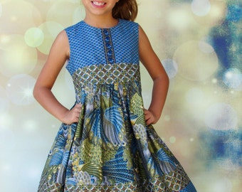 "Girls  Dress ""Metalic Blues"" Dress Children's size 2-8"