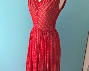 Original vintage 1950s see through dress in red with green and gold check