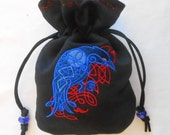 CELTIC RAVEN - Machine-Embroidered Faux Suede Drawstring Pouch - Dice Bag, Tarot, Wristlet