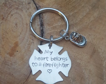 Firefighter's Key Chain My Heart Belongs To A Firefighter Personalized, Customized, Hand stamped