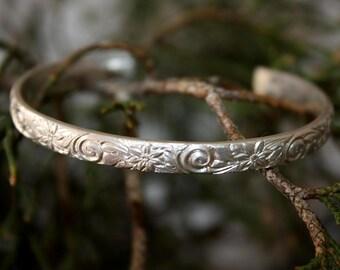 Sterling Silver Cuff Bracelet - Floral Pattern Cuff - Swirl Spiral Pattern Cuff - Artisan Jewelry - Modern Silver Jewelry - Two Feathers