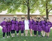 Purple Robe Bride and Bridesmaid Robes Bride Robe Bridesmaids Robe Bridesmaids Robe Satin Robe Bridal Robe Personalized