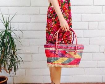 80's STRAW TOTE BAG vintage woven basket purse bright multicolored chevron beach bag