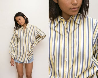 70s Striped Blouse / Multi Color Striped Button Up Shirt / Yellow Navy Striped Oxford / Striped Button Down Pinstripe Collared Shirt unisex