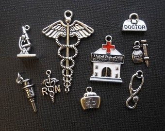 9 Medical Charms in Silver Tone - C2288