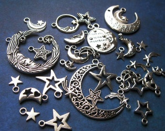 Moon and Stars Charm Collection in Silver Tone - C2361