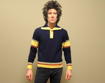 vintage 60s collared sweater knit striped shirt mens vintage 1960 knit pullover Jersild navy blue yellow red medium M