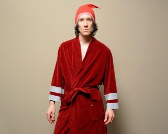 vintage robe 60s 70s velour robe Pierre Cardin mens robe burgundy dark red tie waist 1960 1970 menswear lounge large XL