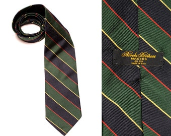 vintage Brooks Brothers tie regimental Sutherland stripe vintage menswear Makers repp necktie trad preppy all silk prep tie Made in USA