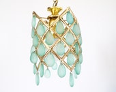 French Vintage chandelier pendent drop light gold  drops // second and final  payment ERICA