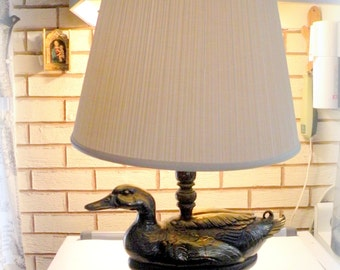 GREAT SHAPE Vintage Brass Duck Lamp-Water Birds- Outdoor Decor- Relaxing and Comfort- Masculine Guy Hunting