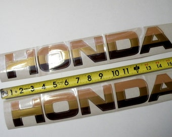 2 Great Shape Clean Vintage HONDA CAR DECALS- 70s Colors- Flesh Gold Brown- 16 inches