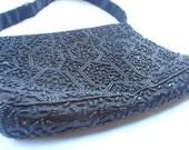 Vintage Black Satin Evening Clutch Bag Seed Bead Sequin Hillard Hanson Formal Purse Mervyns Handbag Zipper Rectangle Rectangular Top Handle