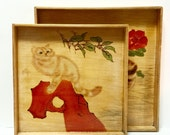 Rare Vintage Japanese Wood Pyrography serving Trays With Cats. Wood Burned Designs. Life of cats  shou sugi ban