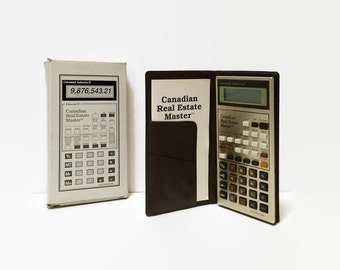 Vintage Calculator 1980s Canadian Real Estate Master in original box, case and instructions, old school LCD