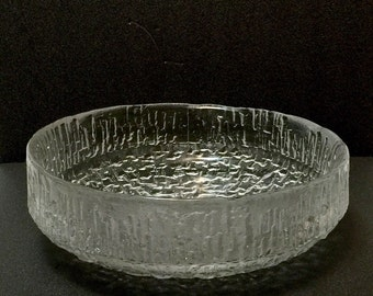 Vintage SKRUF Sweden modernist large centerpiece Console bowl, ice or bark textured design, very heavy with label 11""