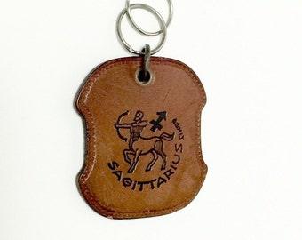 Vintage 1970s Zodiac Leather Keychain Sagittarius