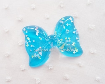 1pc - Large Aqua Confetti Ruffle Bow Decoden Cabochon (54x40mm) BL10021
