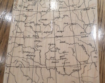 Hero Arts Antique Map Background Xl Lg Large 1999  Wooden Rubber Stamp