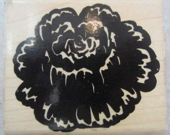 Regal Rose Bold Flower Stamp Floral Botanical Bloom Wooden Rubber Stamp