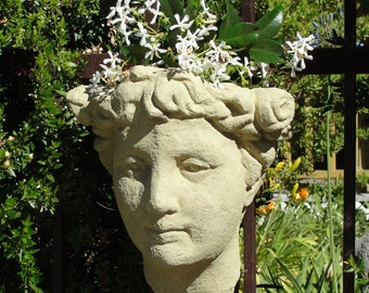Ladys Head WALL PLANTER - Stone Gardening Container - Original Copyrighted Sculpture (a)