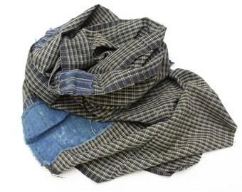 Boro Scarf. Plaid Checked Ikat Indigo Cotton. Vintage Japanese Fabric. Hand Loomed Textile. (Ref: 1182)