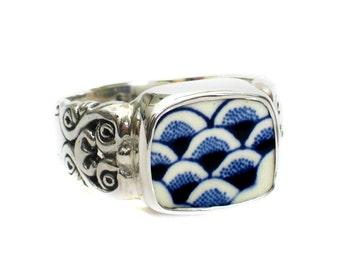 Size 9 Broken China Jewelry Myott Finlandia Blue Wide Scallops Sterling Ring