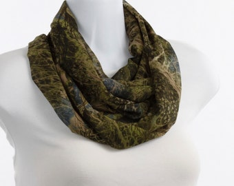 Long Infinity Scarf - Rich Green Collage - Elegant Camouflage ~ SH119-L1