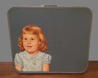 Vintage Suitcase with Repurposed Oil Mid Century Painting of little Girl 1950s 50s 1960s 60s