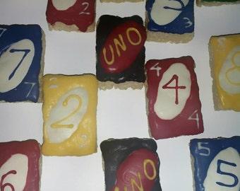 12 UNO chocolate covered krispy treats