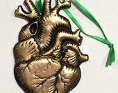 Anatomical Golden Antiqued Heart Magnetic Ornament