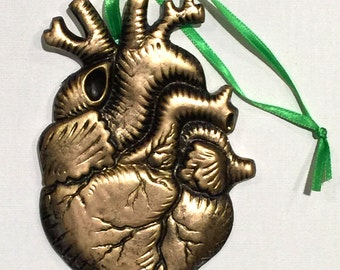 Anatomical Golden Antiqued Heart Magnetic Ornament