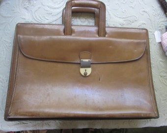 vintage leather briefcase .  attache case. school bag,