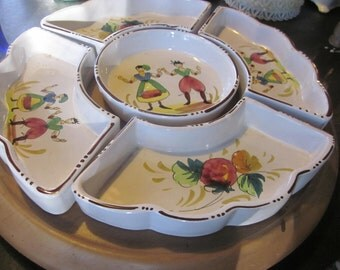 5 piece hors dourves lazy susan, handpainted italy,lazy susan tray,