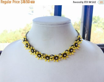 MOVING SALE Half Off Bright Yellow and Black Bumble bee Flowers and Rhinestone Center Vintage  Choker Necklace