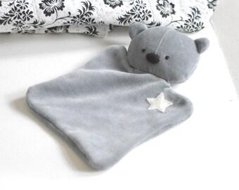 Grey teddy bear baby lovey Taggy blanket Baby comforter Comfort blanket Sleep cloth soft toy plushie softie White star