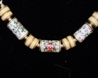 Necklace Hand Painted Beads Wood Beads Mid Century 1950s 1960s Vintage Jewelry Jewellery German Dutch Gift Guide Women