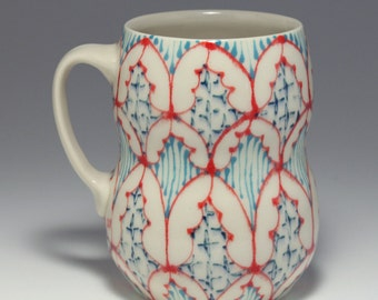 Ceramic Beer Stein, Large Coffee Mug - Handmade with Red, Turquoise Blue and Navy Pattern